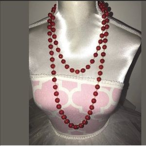 Vintage red pearl glass beaded necklace